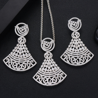 SisCathy New Trendy Women Jewelry Set Charm Fashion Cubic Zirconia Big Pendant Necklace/Errings Wedding India Bridal Jewelry Set