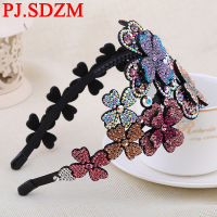 PJ.SDZM Flower Luxury Rhinestone Hairbands Girl Grade Austria Crystal Headbands Woman Hair Accessory Headwear Mother Gift