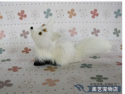 mini simulation white fox toy Polyethylene fur look up fox doll gift about 15x6x8cm