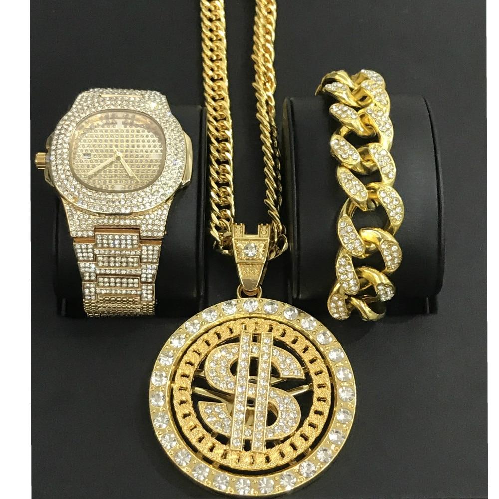 Luxury Men Gold Diamond Watch Hip Hop Men Watch&Bracelet& Necklace Combo Dollar Sign Pendant Ice Out Cuban Watch Jewelry For Men