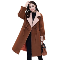 2017 Winter New Fashion Thicken Woolen Jacket Women Korean Slim Was Thin Long Wool Coat Autumn