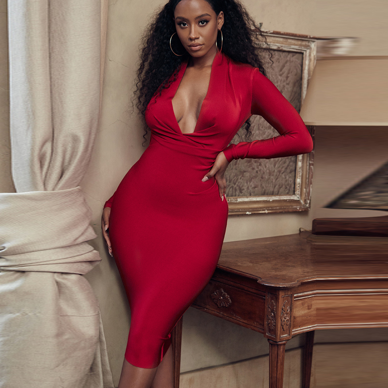 Deer Lady Women Bandage Dress 2019 New Arrivals Red Bandage Dress Bodycon V Neck Bandage Dress Long Sleeve Sexy Party Club