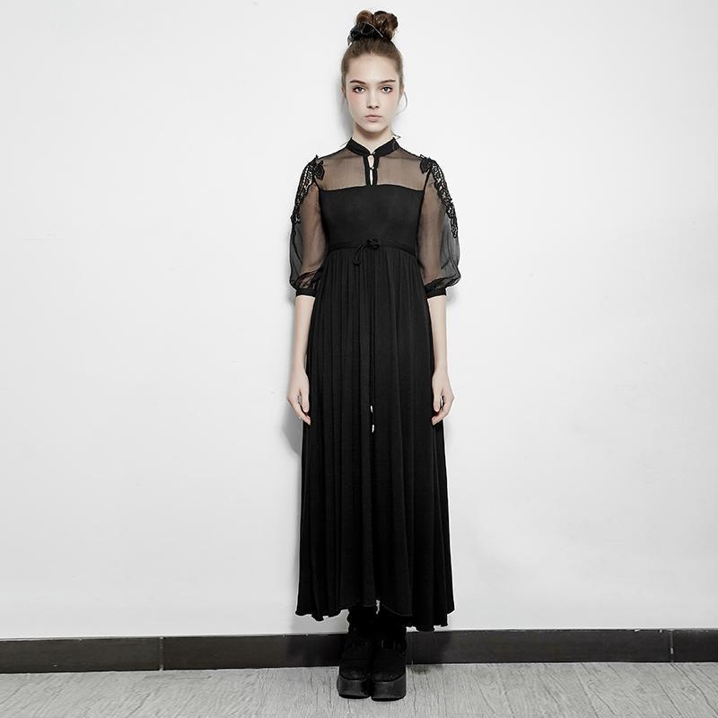 Punk Rave femmes dentelle transparent manches tunique longue robe avec col noir PQ-151