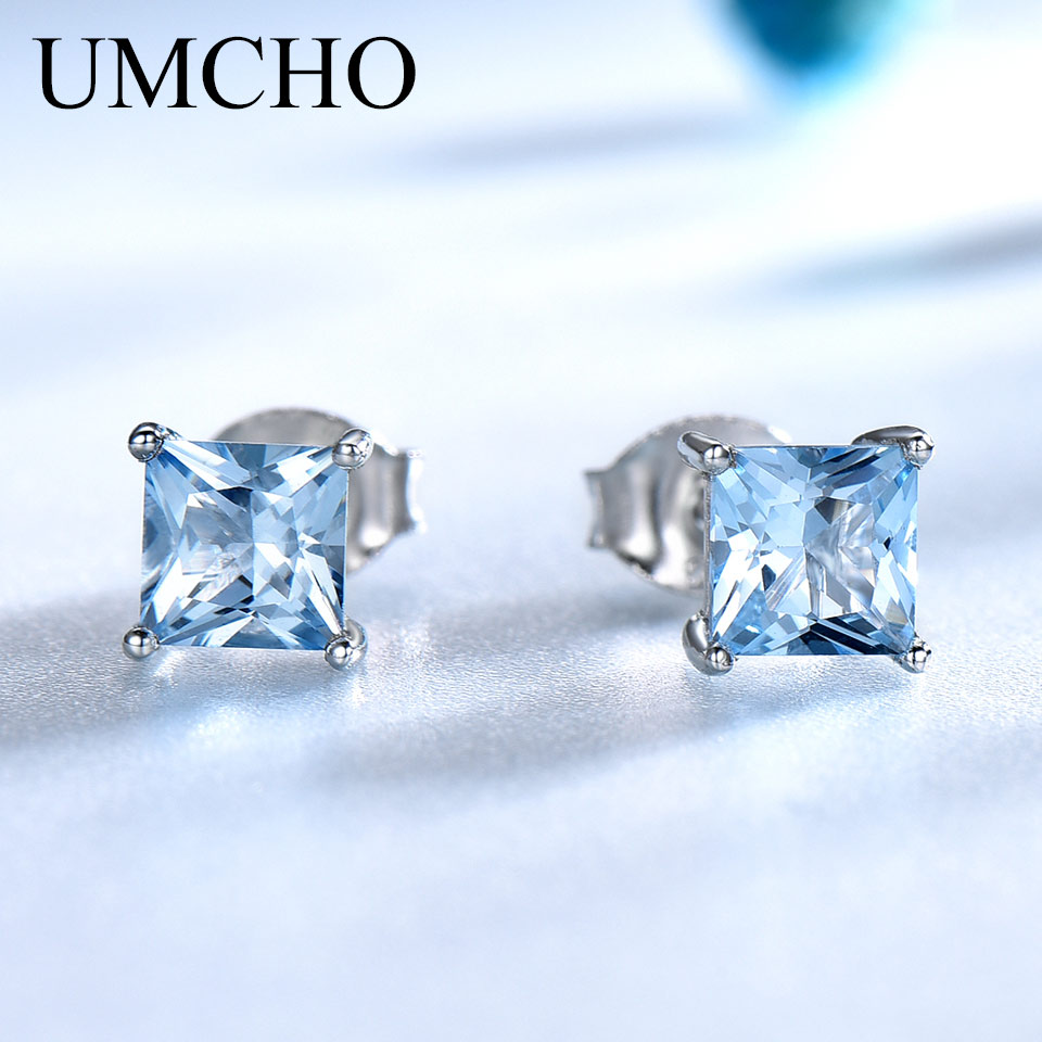 UMCHO Real 925 Sterling Silver Stud Earrings For Women Princess-cut Sky Blue Topaz Earrings Fine Jewelry Blue Gemstone Gift New