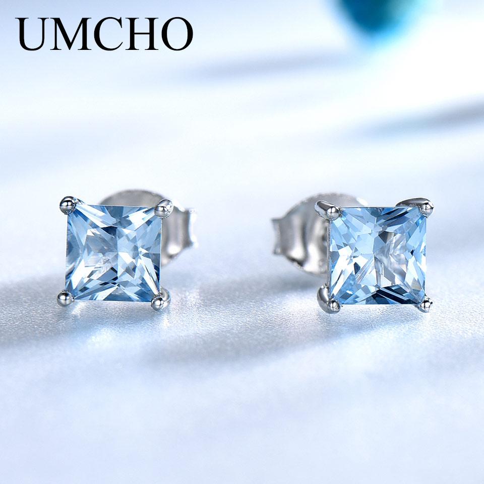 UMCHO Real 925 Sterling Silver Stud Earrings For Women Princess-cut Sky Blue Topaz Earrings Fine Jewelry Blue Gemstone Gift New