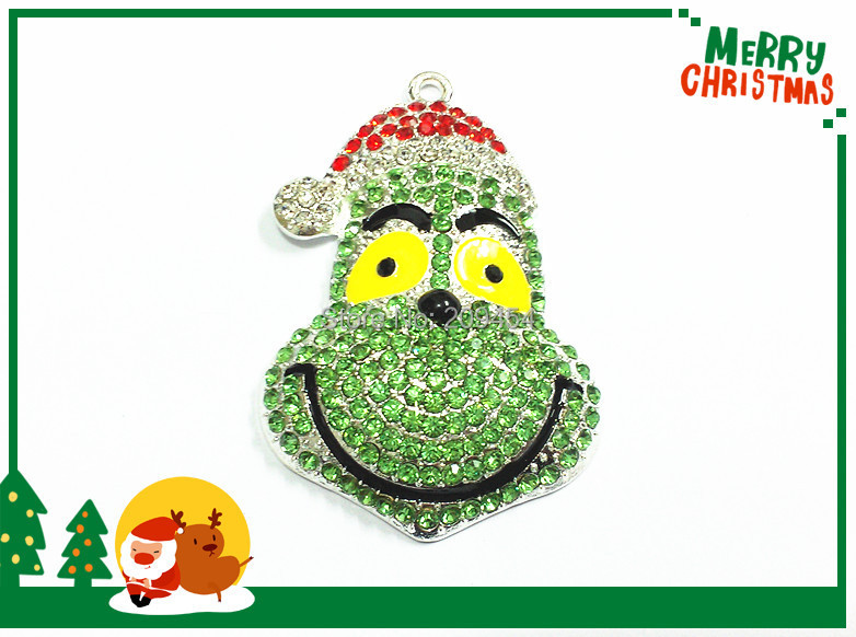 New  !  51mm*36mm   10pcs/lot  Christmas Grinch Full Rhinestone Pendants For Christmas Jewelry Making-in Pendants from Jewelry & Accessories