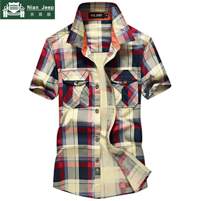 NIANJEEP 2018 Summer Casual Plaid Short Sleeves Shirts Men Cotton Breathable Top Quality Men's Shirt Size S-4XL Chemise Homme