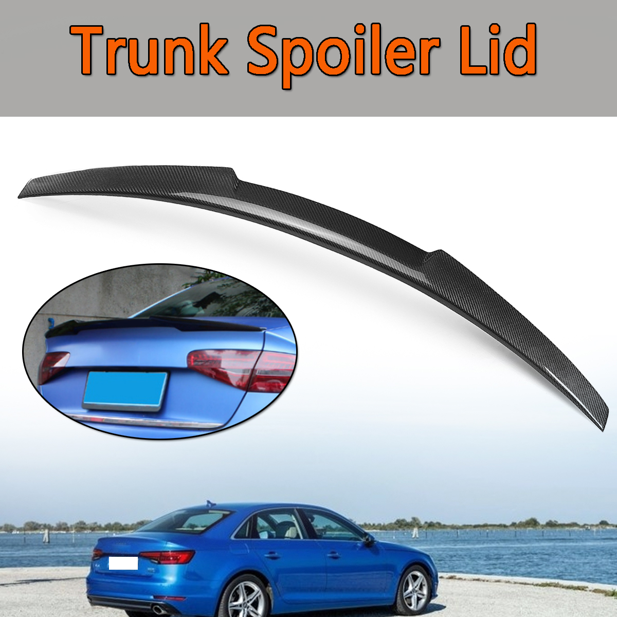New Rear Trunk Boot Spoiler Wings Carbon Fiber Trunk Spoiler Lid Type D in car For 2017-2018 for Audi A4 B9 /Quattro/S4 Sedan carbon fiber for audi a4 b9 sedan avant allroad quattro 2016 2017 transmission shift gear panel molding garnish cover trim