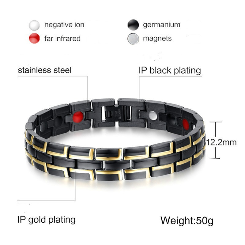 2019 hommes en acier inoxydable noir Bracelet magnétique hommes en acier inoxydable hommes Bracelet énergie Germanium Bracelet hologramme - 2