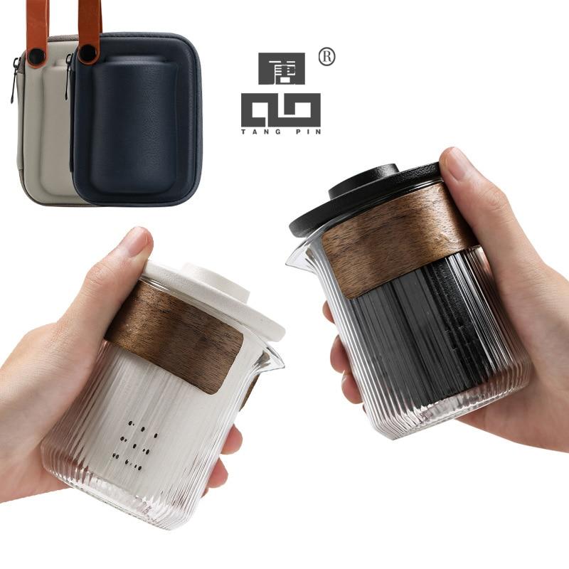 TANGPIN Ceramic Teapot With 2 Cups Gaiwan Teacup A Tea Sets Portable Travel Tea Set Drinkware