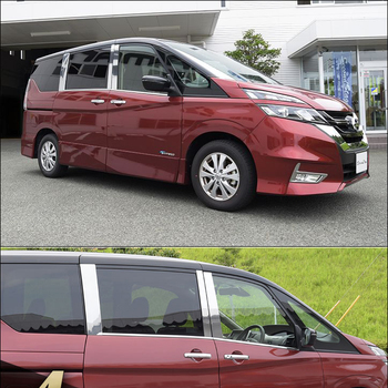 JY 6pcs SUS304 Stainless Steel Window Pillar Trim Car Styling Cover For Nissan Serena C27 2016-2018 abs chrome for nissan serena c27 highwaystar 2016 2017 2018 front bumper cover trim car styling