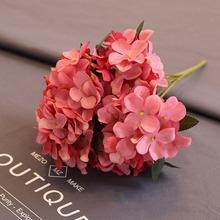 Sztuczne kwiaty jedwabne hortensja wysokiej jakości retro fałszywe kwiaty na ślub dekoracje na domowe przyjęcie diy jedwabne kwiaty tanie tanio Ślub HS-01 Jedwabiu Bukiet kwiatów
