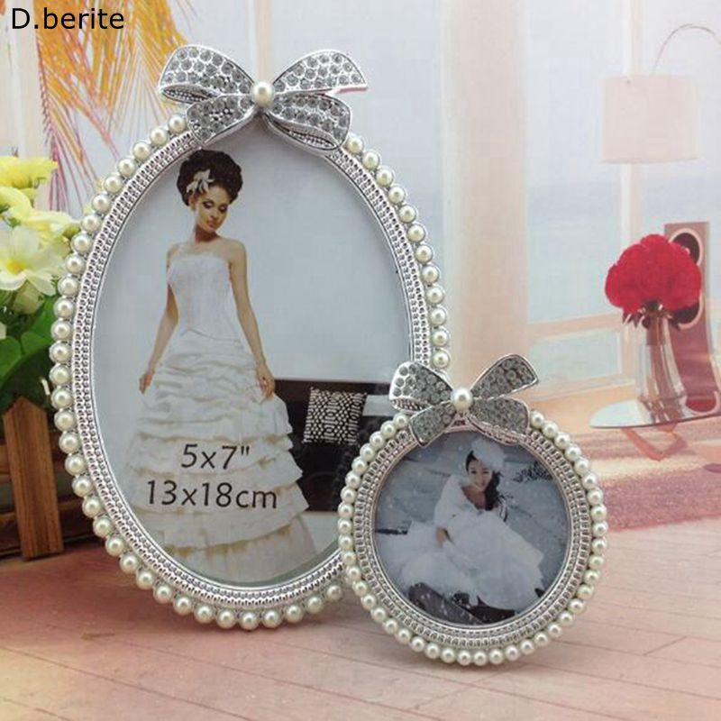 1 pcs Photo Frame de Retrato de Cristal Pérola do Diamante Bowknot Oval Foto Bonito quadro Do Casamento Home Decor Presente Novo 3 polegada 6 polegada YYY9565