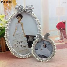 1pcs Photo Picture Frame Crystal Pearl Diamond Bowknot Oval Cute Photo Frame Wedding Home Decor Gift New 3 inch 6 inch YYY9565