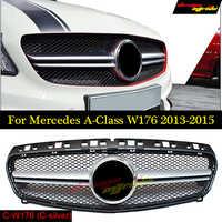 Parrilla golfliat AMG estilo W176 parrilla frontal ABS negro para Mercedes Benz A-CLASS A180 A200 A250 rejillas A45AMG 13-15