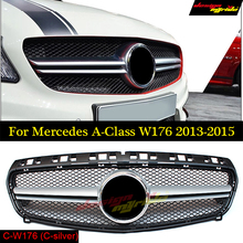 GOLFLIATH AMG Style grille W176 Front Grill Grille ABS Black for Mercedes Benz A-CLASS A180 A200 A250 Grilles A45AMG 13-15
