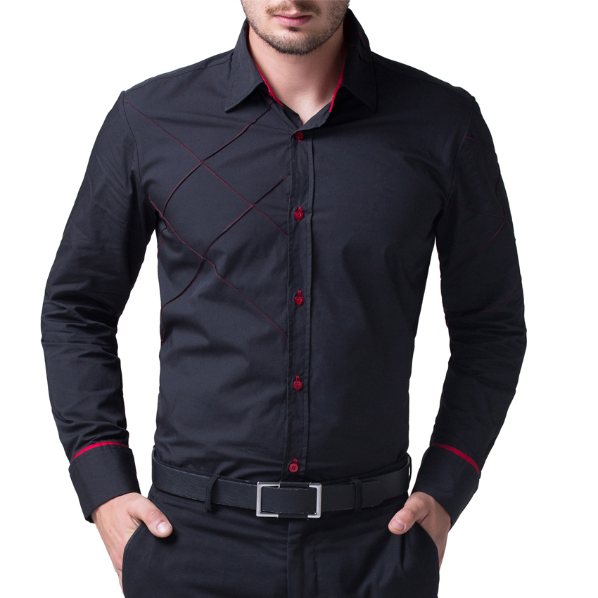 Mens black shirt slim fit custom shirt for Men slim fit shirts