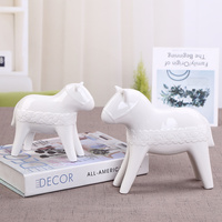 1 pair Simple modern ceramic horse ornaments home living room ornaments set up new model room for white porcelain LU709543