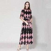 2019 Summer runways plaid pink dress Chic lace patchwork belt dress Fashion flare sleeves chiffon dress A314