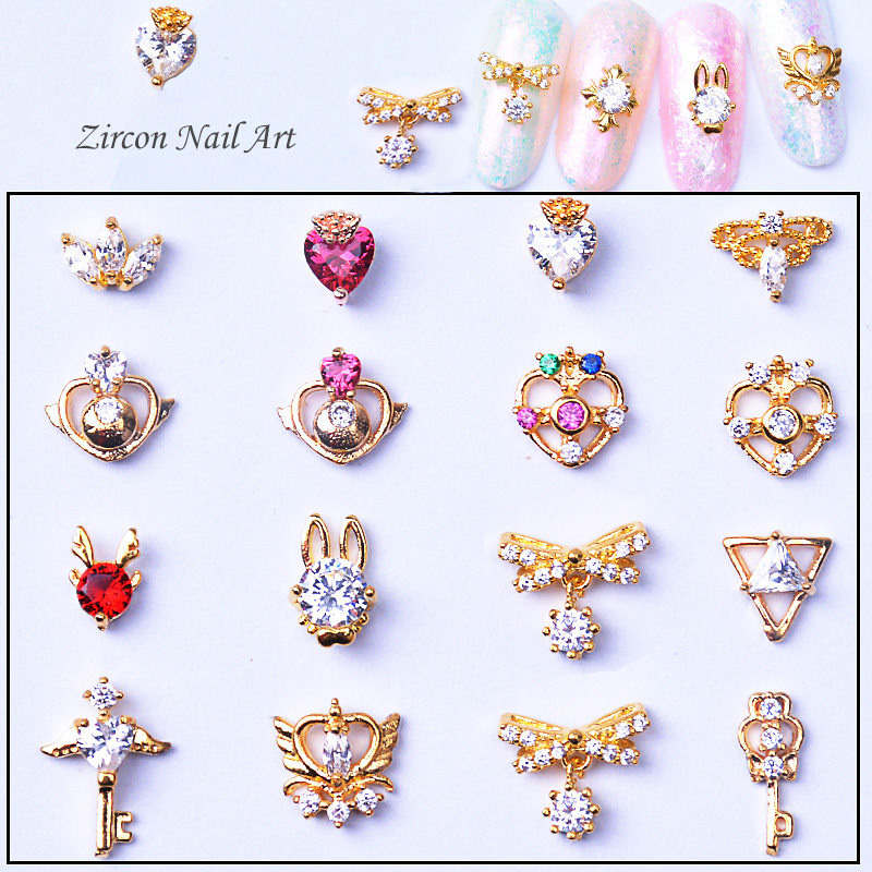 10pcs 3d Alloy Zircon Nail Art Decoration Sailor Moon Series