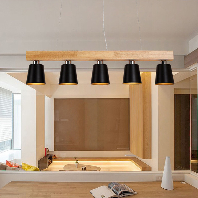Postmodern Nordic Wooden Pendant Lamp Lights