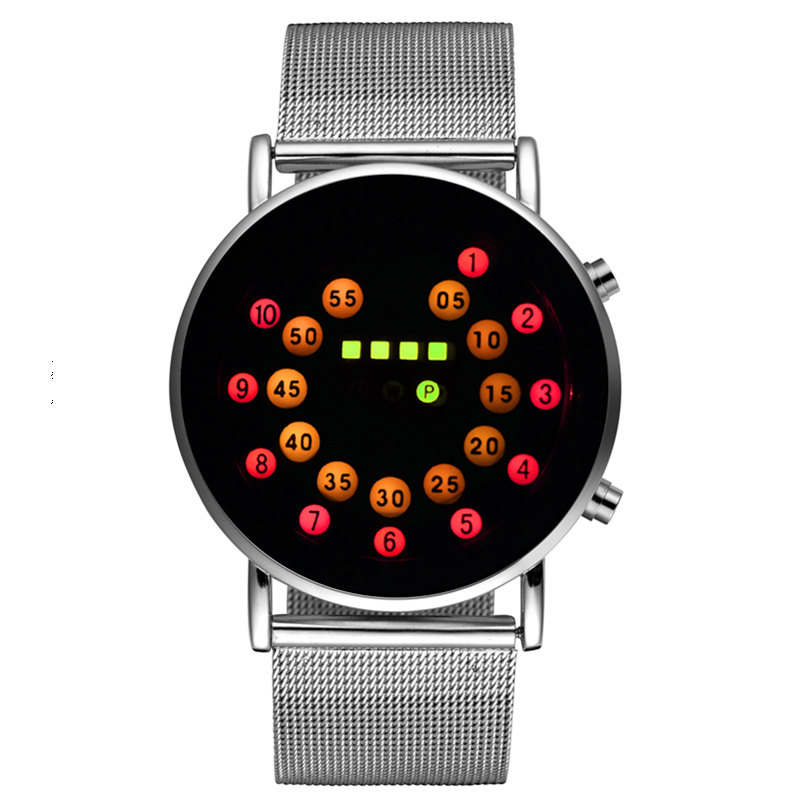 Digital Watches Watches Frugal Cool Digital Watch Men Led Fashion Watches Luxury Mesh Binary Watches Male Digital Hour Clock Montre Homme Masculino Relojes High Quality Materials