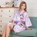 Plus Size Ladies Summer Mini Kimono Short Robe Bath Gown Light Purple Chinese Women Rayon Yukata Nightgown Pijama Mujer Mdn006
