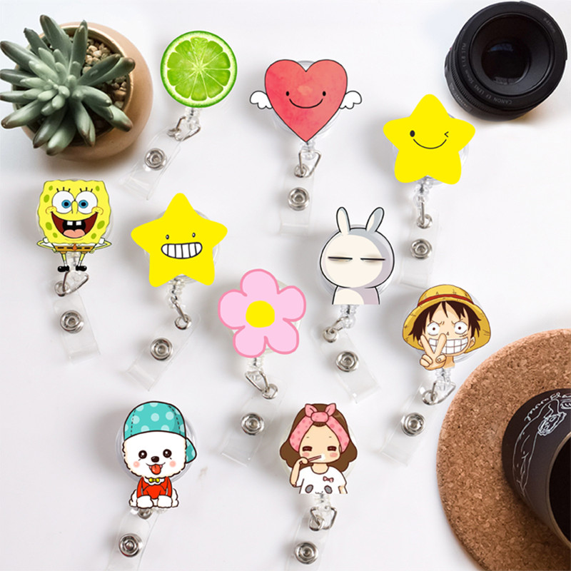 Hot Sales 1 Piece Top Quality Acrylic Retractable Nurse Badge Reel Cartoon Heart Bunny Flower Dog Students ID Card Badge Holder(China)