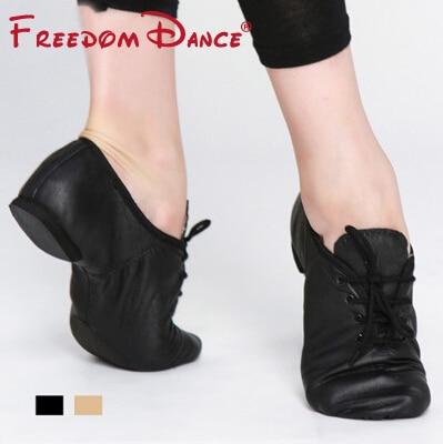 Högkvalitativa Pig Leather Lace Up Jazz Dance Shoes Mjuk Ballett - Gymnastikskor - Foto 3