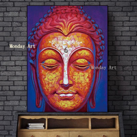 Handmade Buddha oil Painting on canvas Wall Art Pictures hand painted vivid Buddha face painting home decor Wall art picture