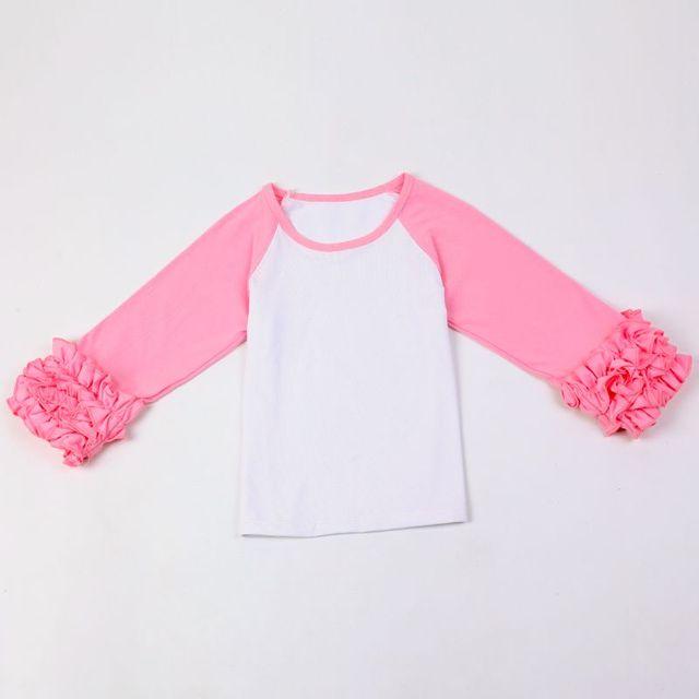88ff28d39f6f DIY Blanks Ruffle Cuff Sleeve Raglan T-Shirt Girls Monogram Ruffle Sleeve  Raglan Shirts solid ruffle icing shirts