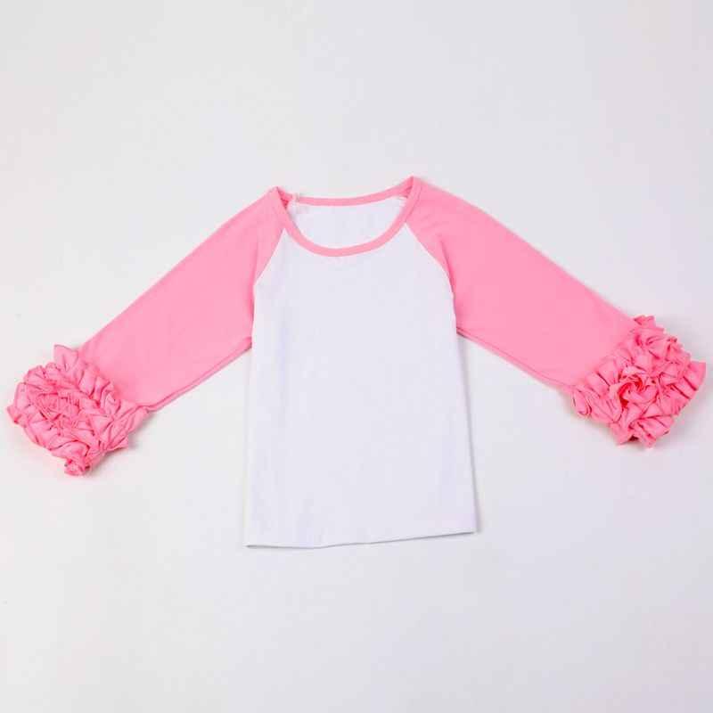 bfc920115fbf Detail Feedback Questions about DIY Blanks Ruffle Cuff Sleeve Raglan T  Shirt Girls Monogram Ruffle Sleeve Raglan Shirts solid ruffle icing shirts  on ...