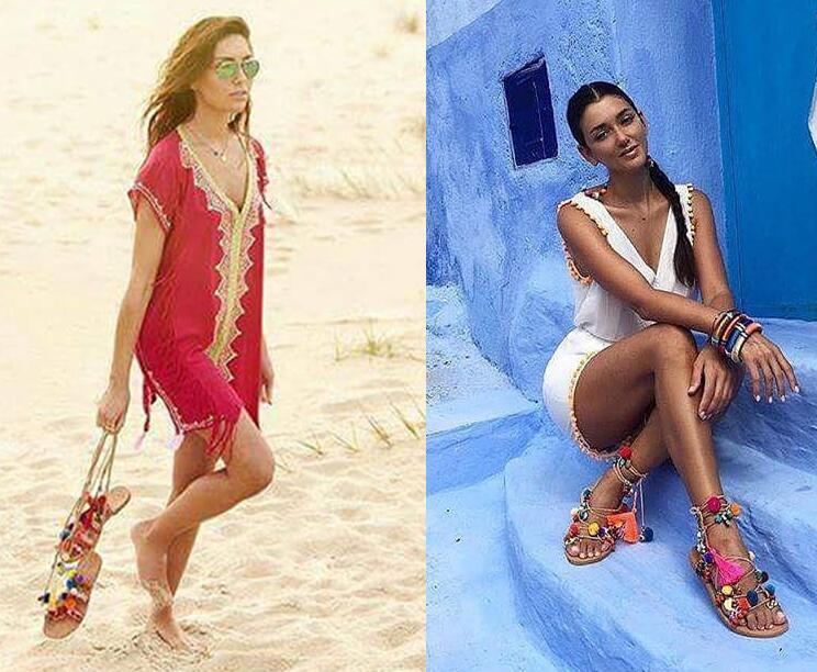 Dames Picture Couleurs Ouvert Picture Hot As Mixte Mode 2018 Style Multi Sandales Bretelles Bohême as Summer Bout Lacent Plat Pom Femmes Chaussures tz1xIq