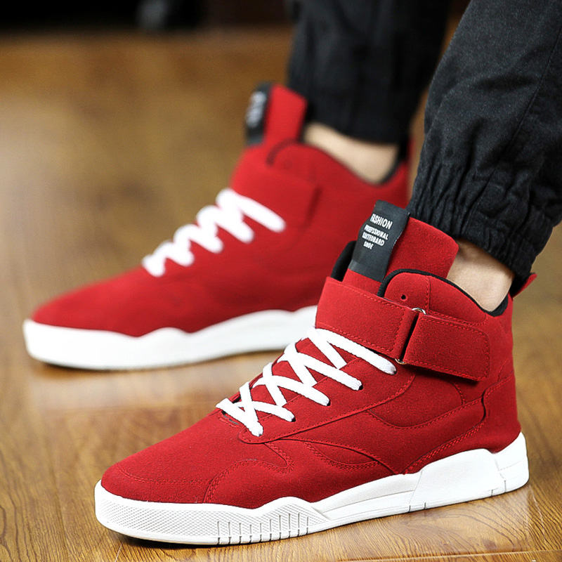 High Top Mens Hip Hop Shoes Red Lace Up PU Leather Shoes ...