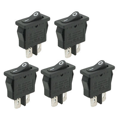 5 Pcs AC 250V/6A 125V/10A 2 Pins Terminal SPST On Off Rocker Switch mylb 10pcsx ac 3a 250v 6a 125v on off i o spst 2 pin snap in round boat rocker switch