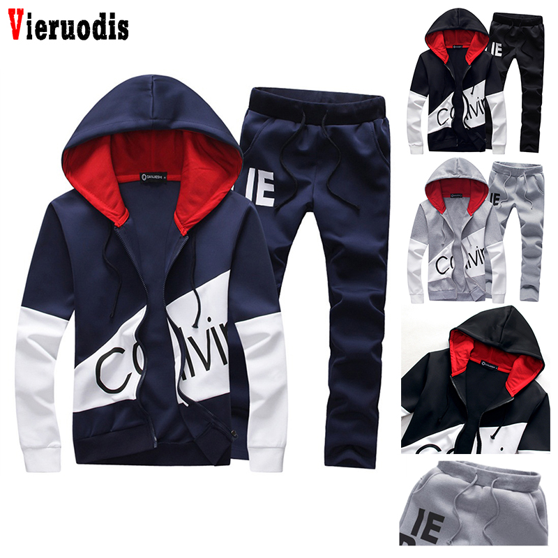 Mens sporting suits Tracksuit men set letter sportswear sweatsuit male sweat track suit jacket hoodie with pants 5XL large size(China)