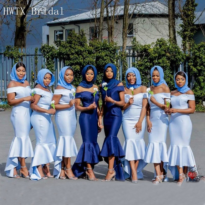 High Low   Bridesmaid     Dresses   Sexy Mermaid Off Shoulder Light Blue Satin Long 2018 African Wedding Party   Dress   Maid Of Honor Gowns