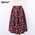 2017 New Fashion Black Skirt Women High Waist Plus Size Charming cherry printing Ladies Summer Skirts 50s Vintage Midi Skirt
