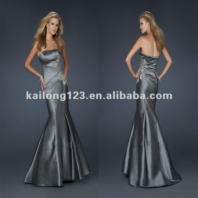 Elegant Strapless Fitted Mermaid Floor Length Taffeta Flower Pattern