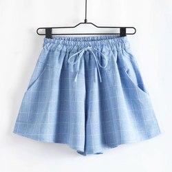 Women font b shorts b font high waist knotted elastic waist loose wide leg plaid cotton.jpg 250x250