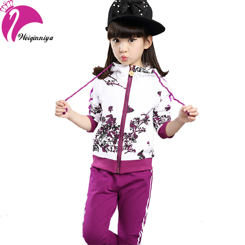 New Brand 2017 Baby Girls Sets Cotton Spring Autumn Fashion Foral Print Sports 2 Pieces Long Sleeve Hooded Suits Girls Clothes 2014 spring autumn new fashion girls sports suits zipper coat trousers flowers print big girl clothes sets children sportswear