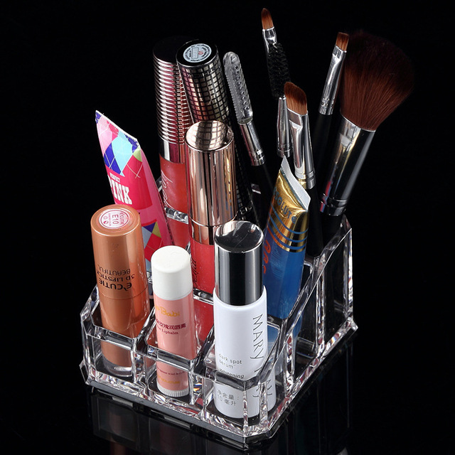 9 grid  transparent Jewelry storage box jewelry rack eyebrow lipstick pen  cosmetic storage box
