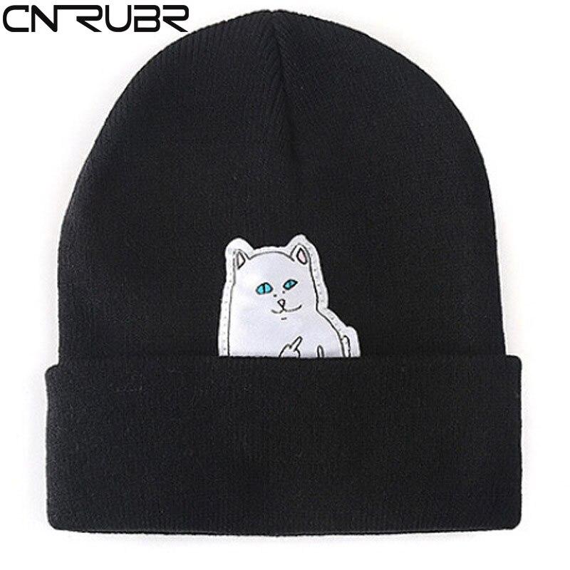 CN-RUBR Hot! Cat Erect Middle Finger Hat Winter Couples Wool Hats Fashion Cotton Women Warm Head Hats Knitting Hats