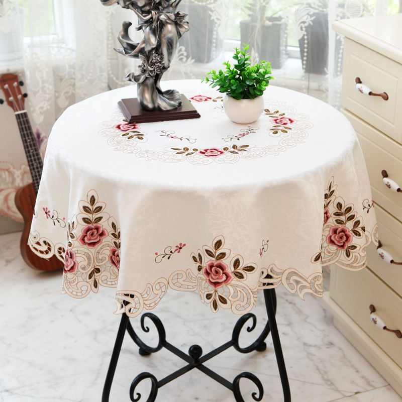 RZCortinas Table Cloth Round Table Cover with Lace Embroidery Floral Wedding Party Banquet Tablecloth Coffee Tea Table Cloth