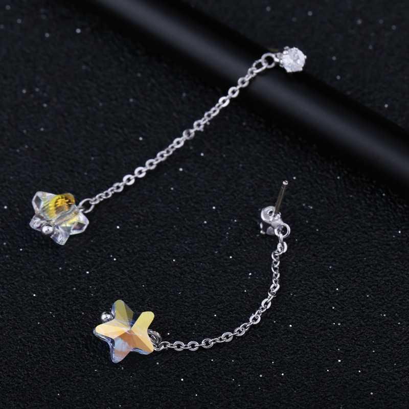 MIGGA à la mode en forme d'étoile véritable boucles d'oreilles en cristal autrichien Long gland femmes cadeau bijoux