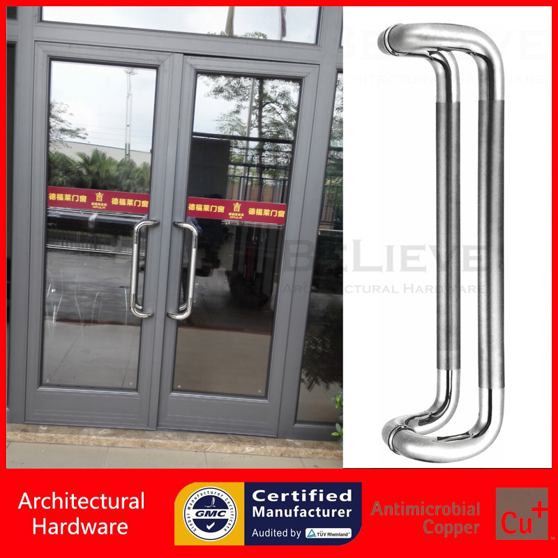 Entrance Pull Handle 304 Stainless Steel Polish and Brushed Offset Door Handles PA-117 For Wooden/Frame/Glass/Metal Doors antimicrobial environmental wood pull handle pa 710 entrance door handles for entry glass shop store doors