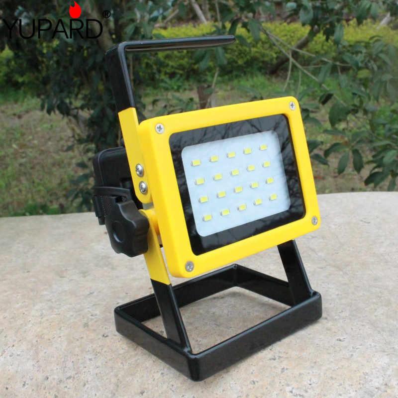 YUPARD 20 * SMD led Spotlight flood ánh sáng Searchlight 18650 pin có thể sạc lại cắm trại ngoài trời câu cá thể thao đèn pin + sạc