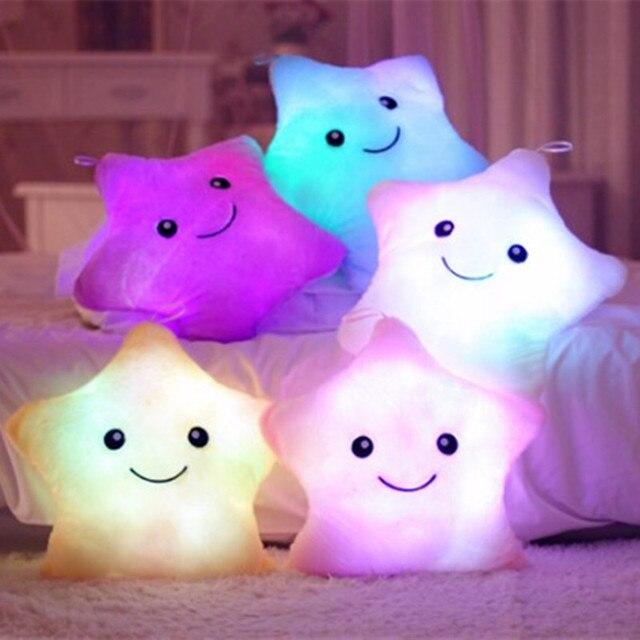 1pc 38cm Kawaii Plush Pillow Luminous Pillow Led Light Pillow Hot Colorful Gleamy Stars Kids Toys Christmas Gift Birthday Gifts