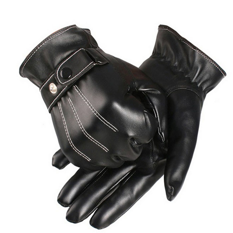Warm Winter Men PU Black Leather Gloves Smartphone Touch Screen Driving Cycling