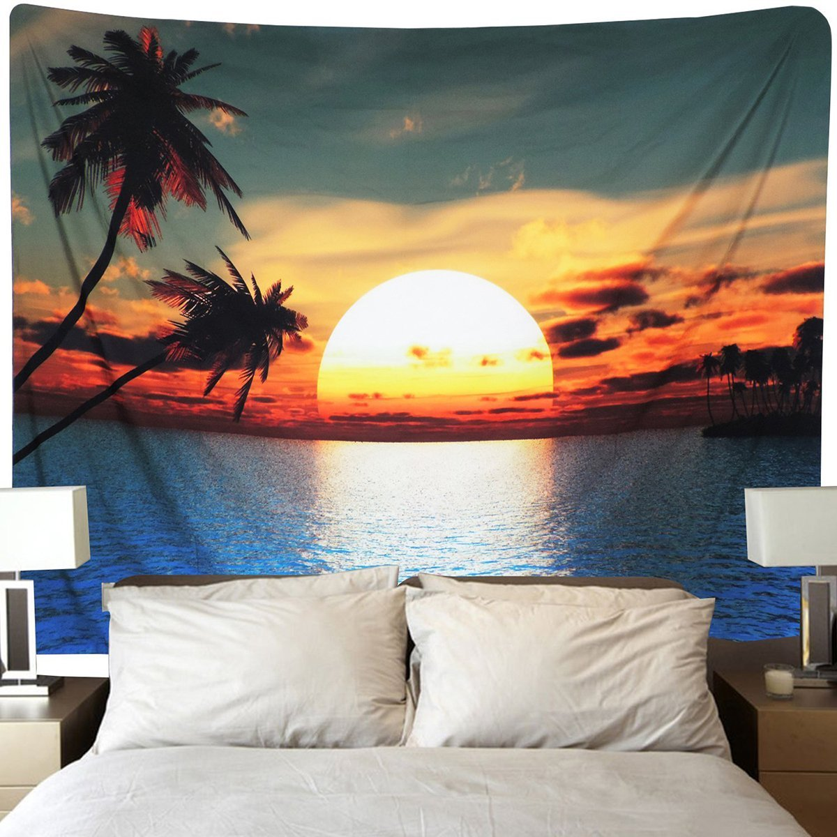 Tapestry Tropical Island Beach With Sunset Wall Hanging Tapestry Dorm Decor
